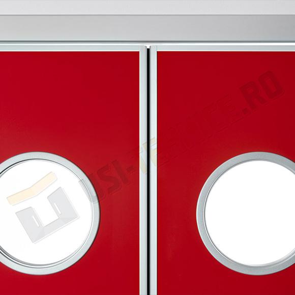 detaliu vitraj tip hublou de usi batante laminate HPL