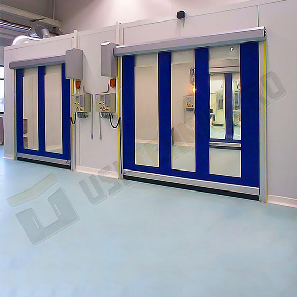 sistem de acces cu usi rapide PVC vitrate cu toc din aluminiu