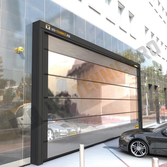 usa sectionala din aluminiu vitrata pentru showroom-uri