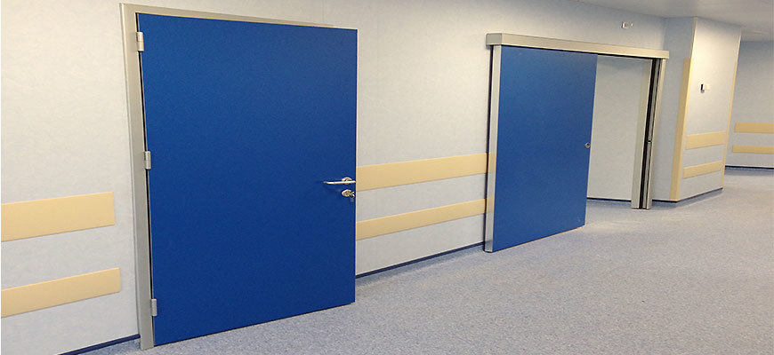 Usi de spital din HPL pe balamale si culisante cu toc din aluminiu pentru spitalul Fundeni