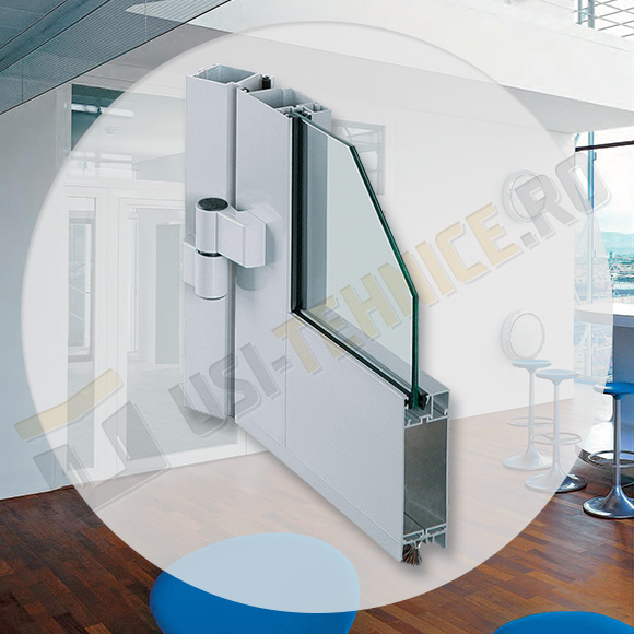 Usi de interior cu profile din aluminiu fara bariera termica